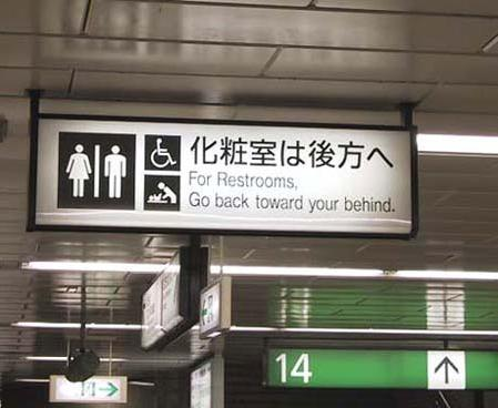 FOR RESTROOMS, GO BACK TOWARDS YOUR BEHIND
